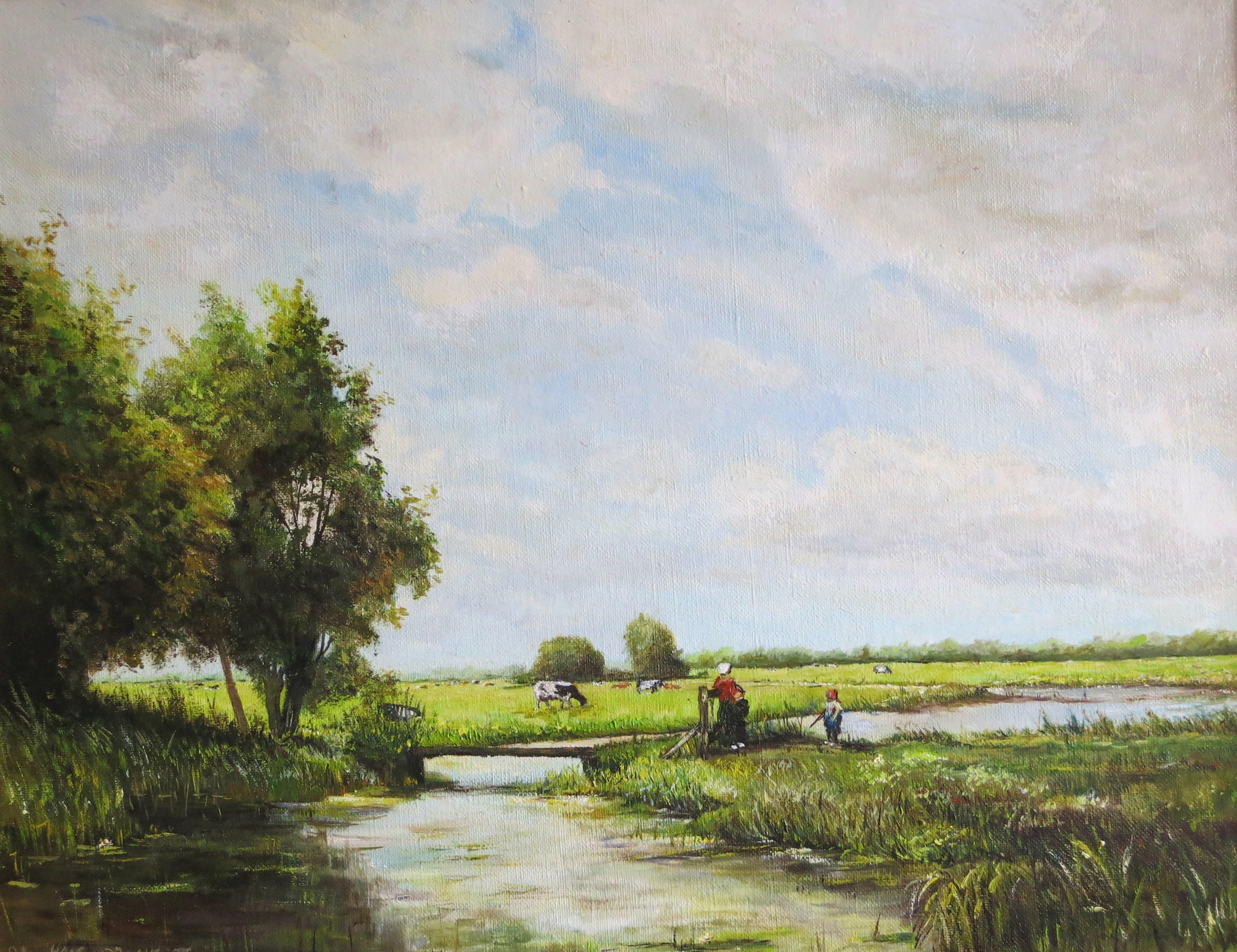 Moeder met kind in de polder