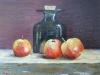 Drie appels met fles.