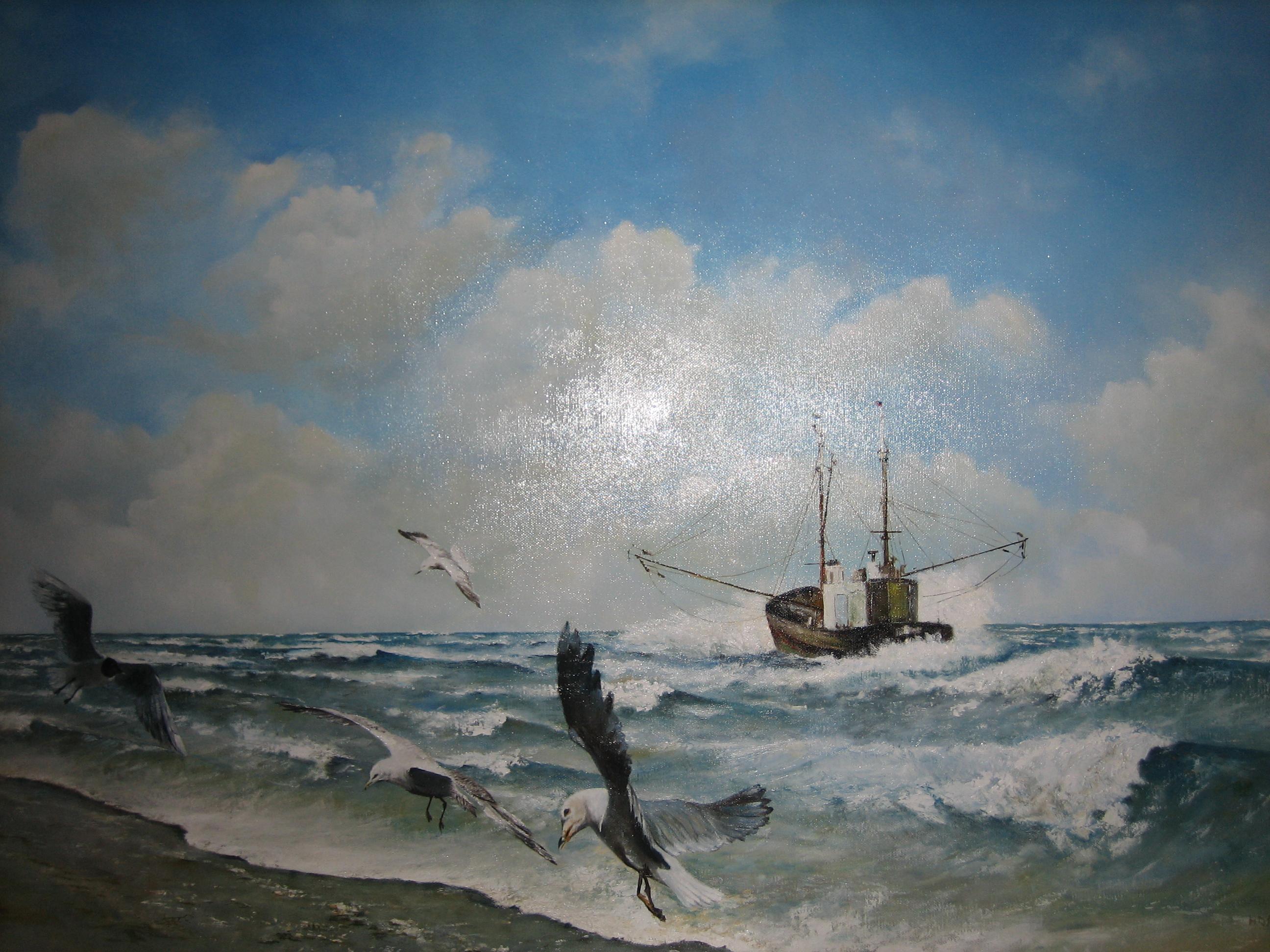 Vissersboot onder de kust.