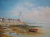 Drooggevallen haventje in Bretagne